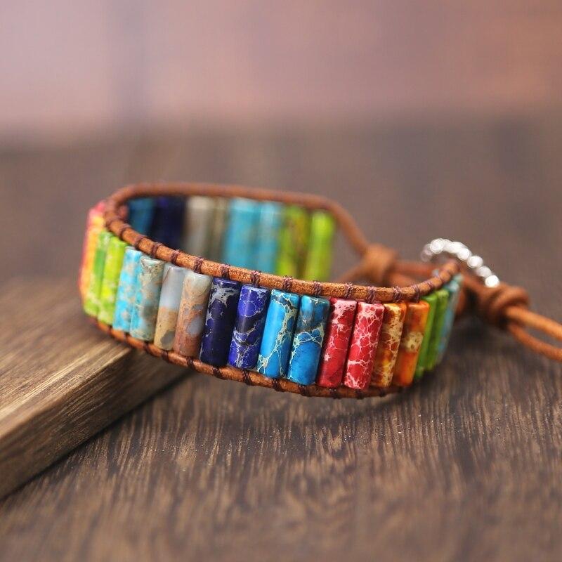 NEW Chakra Bracelet Jewelry Handmade Multi Color Natural Stone Tube Beads Leather Wrap Bracelet Couples Bracelets jewelry Gifts bracelet