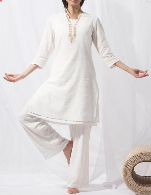 Cotton Linen White Embroidery Tai Chi Clothing Yoga Suit Women Zen