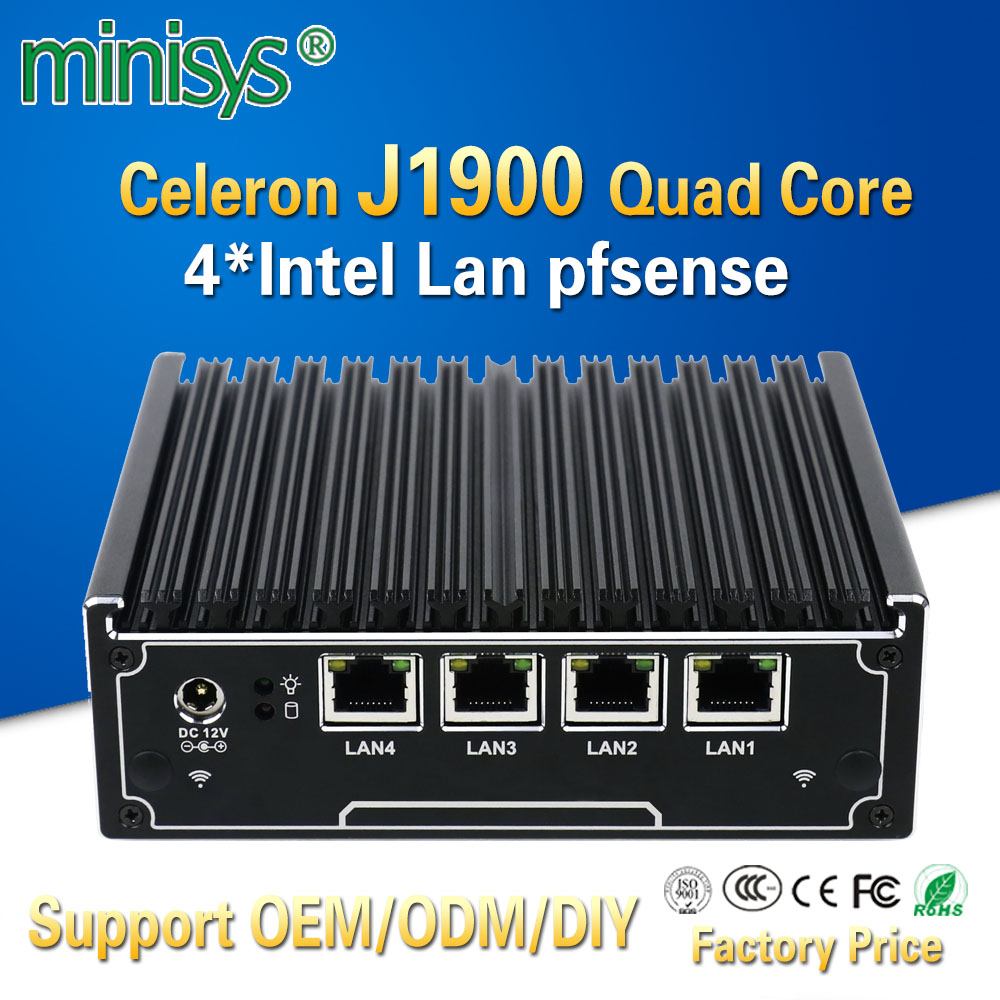 Minisys 4 Gigabit Lan Network Firewall Intel J1900 Quad Core Barebone System Fanless Mini Pc Server For Windows 7 8 10 Pfsense