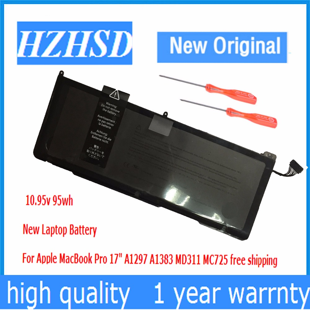 10.95V 95Wh Original New A1383 Laptop Battery For Apple MacBook Pro 17 2011 A1297 020-7149-A10 MC725LL original a1706 a1708 lcd back cover for macbook pro13 2016 a1706 a1708 laptop replacement