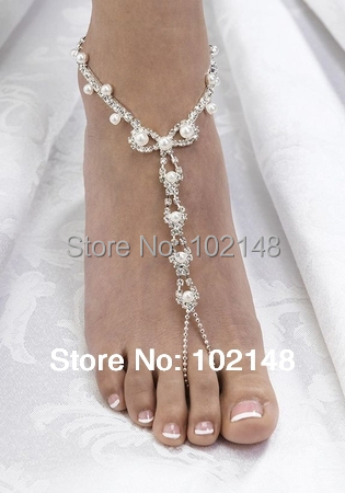 Sexy Rhinestone Pearl barefoot sandals Wedding Bridal Jewelry