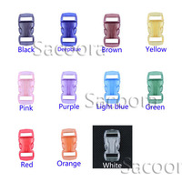 3/8(10mm)Jelly Clear Colorful Curved Side Release Mini Buckles For Paracord Bracelet/Cat Collars 1100pcs/pack