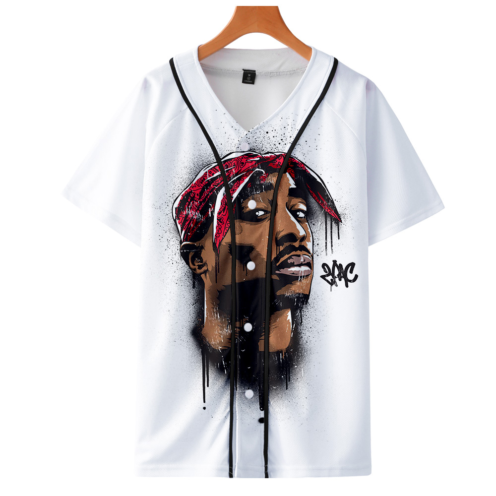 Men Women 3D Print Tupac 2pac T-shirt Short sleeve O-Neck Baseball shirt Hip Hop Swag harajuku Streetwear Design Baseball Jersey