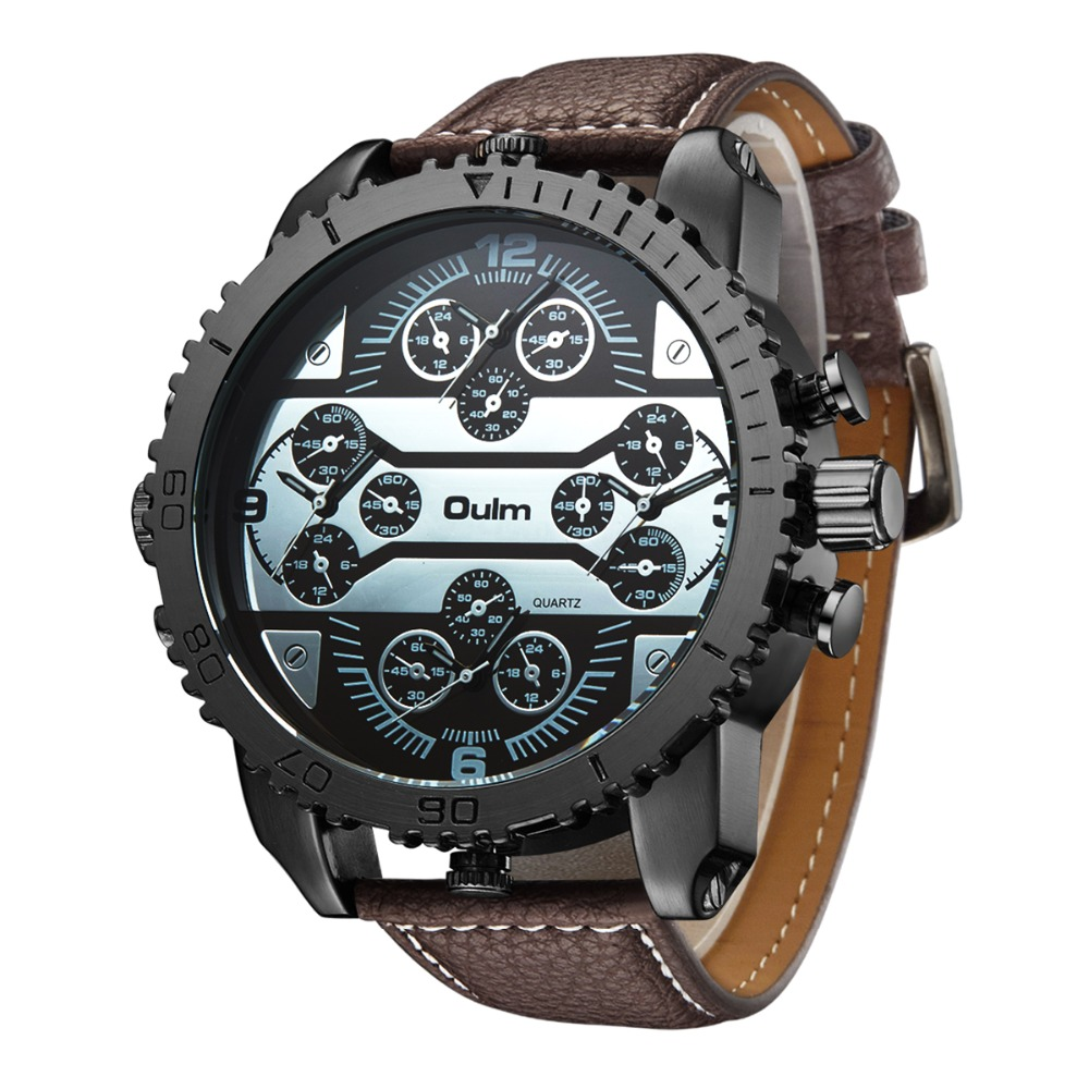 Big Dial Japan Movt Quartz Watch Oulm Brand Wristwatch with four Time Zone and Compass For Men Watch Analog Brass New with tags cagarny 6819 men quartz watch japan movt date round dial leather band