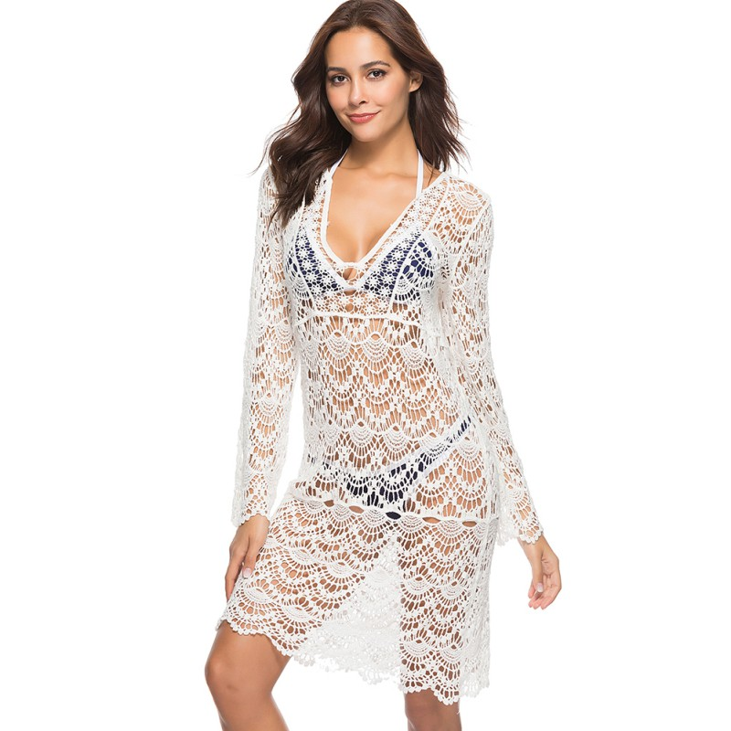 White Summer Lace Dress Sexy See Through Hollow Out Vestidos Deep V Women Mini Dress For Beach