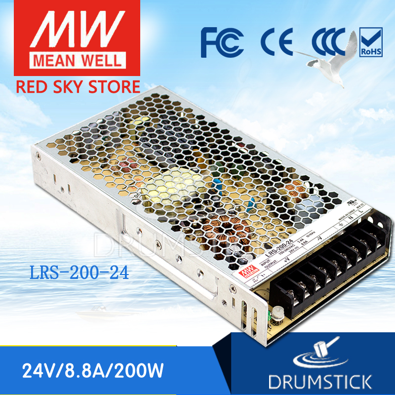 (12.12)MEAN WELL original LRS-200-24 24V 8.8A LRS-200 24V 211.2W Single Output Switching Power Supply [powernex] mean well original lrs 100 24 24v 4 5a meanwell lrs 100 24v 108w single output switching power supply