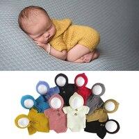 Newborn foto prop pagliaccetto incappucciato lavorato a maglia vestito del bambino abbigliamento bebe boy girl fotografia props crochet clothing costumi infantili
