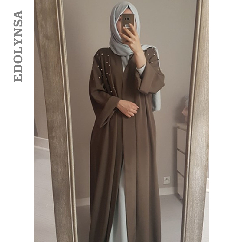 Open Abaya In Dubai Kimono Beads Islamic Skirts Long Dresses For Muslim Women Coat Abaya Dubai