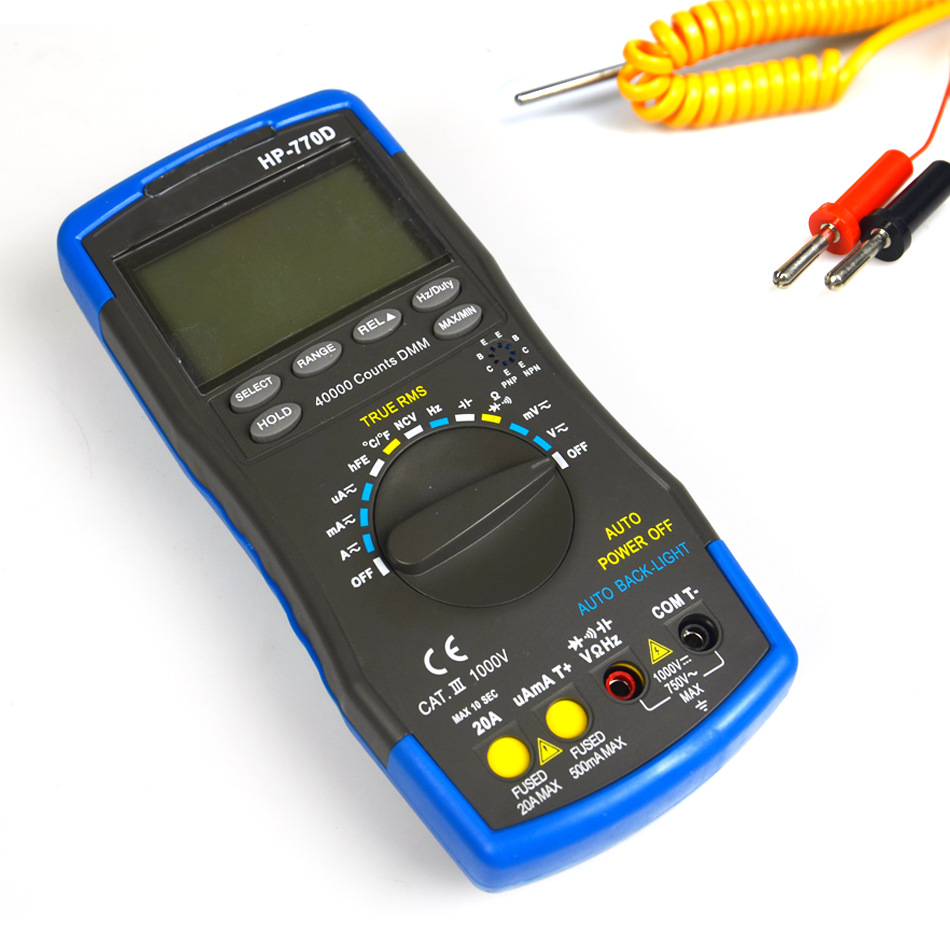 Hot Sale Original Handheld High Precision Accuracy Multimetro Digital Multimeter Auto Range True Rms Hp-770d Temperature Meter