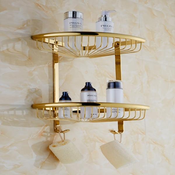 NEW Bathroom Gold Brass Corner Shelf Shower Caddy Storage Dual Tiers ...