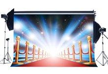 Innen Bühne Hintergrund Glänzende Lichter Rot Teppich Kulissen Bokeh Glitter Pailletten Hollywood Fotografie Hintergrund