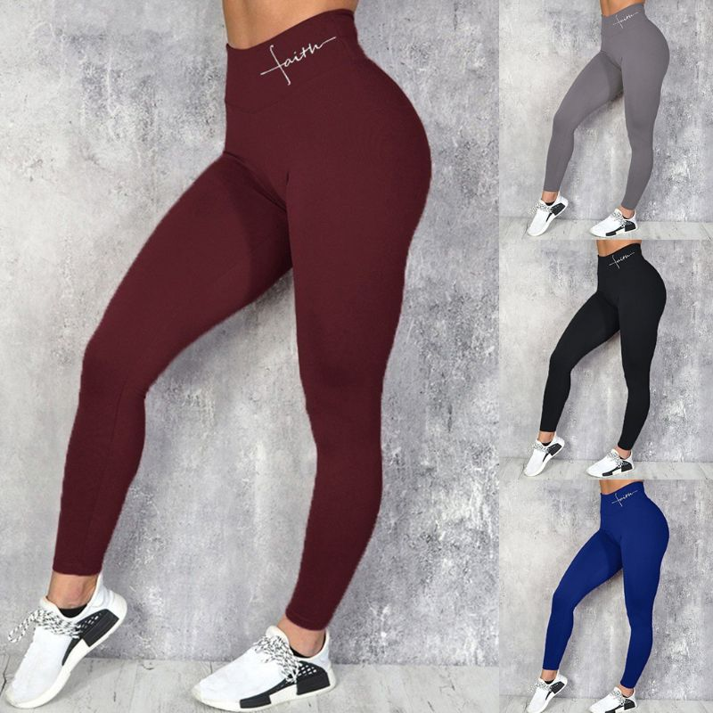 Women Faith Letter Print Wide Waistband Fitness Leggings Sexy Butt Lift High Waist Pants Workout Tummy Control
