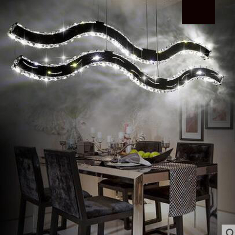 Chandelier creative personalized restaurant lights wavy LED crystal chandelier modern minimalist dining room lamp home led lamp chinese modern creative lamp lift shrink mahjong chess room chandelier wood chandelier restaurant lamp