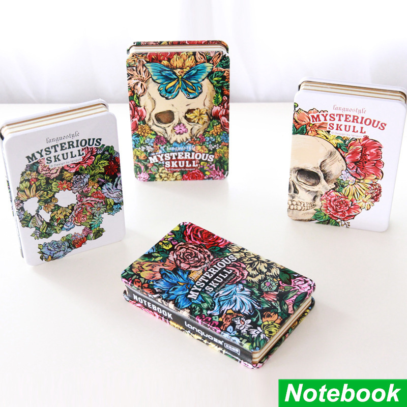 Mysterious skull notebook Metal cover diary books