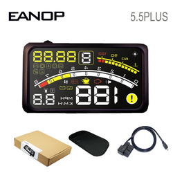 EANOP HUD 5.5 زائد رئيس يصل عرض سيارة عداد السرعة الرقمي OBD2 درجة حرارة الماء ، ومراقبة استهلاك النفط لشاحنة السيارات