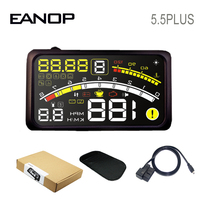 EANOP HUD 5.5Plus head up display Car Digital speedometer OBD2 Water temperature, Oil Consumption Monitoring for Cars Truck