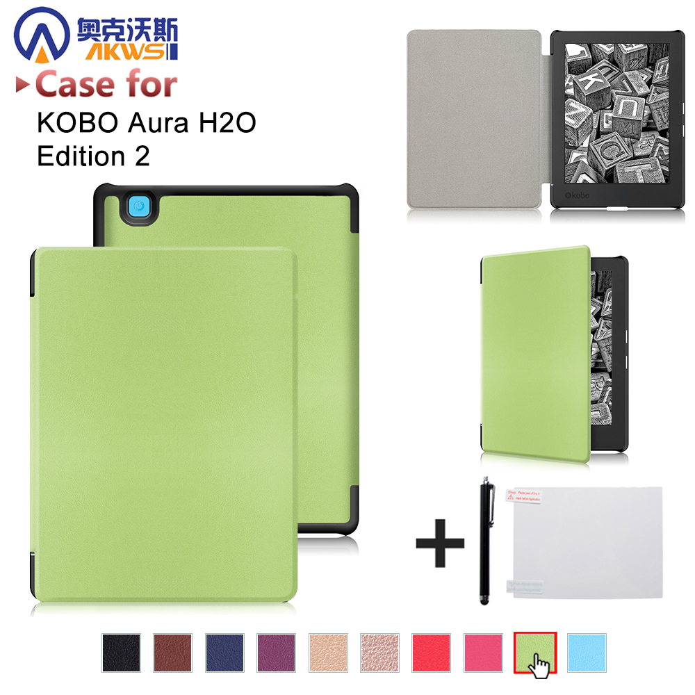 Folio PU leather cover case for 2017 Kobo aura H2O edition 2 6.8 water proof ereader+free gift folio cover