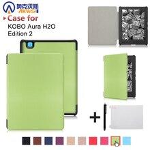"""Caso de la cubierta de cuero en folio de la PU para 2017 Kobo aura H2O edición 2 6.8 """"ereader + regalo a prueba de agua"""