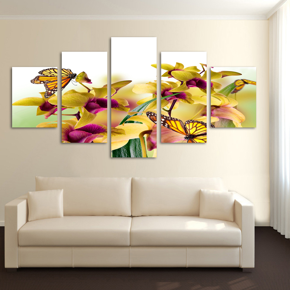 5 Square Free Shipping Art Canvas Painting Home Decor Digital Photos Wall Stickers Yellow Phalaenopsis Picture F087 In Calligraphy From
