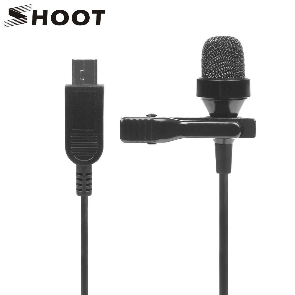 SHOOT 3.5mm Stereo Clip-on Microphone for Gopro hero 4 3+Black Silver 3 Action Camera Mini Audio Condenser for Go Pro Accessory