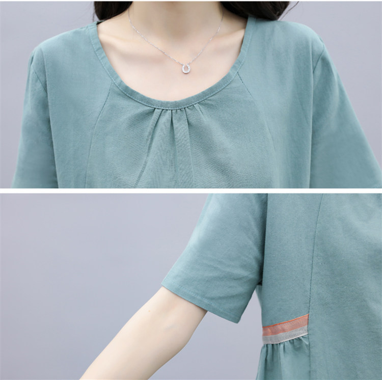 Summer Cotton Linen Two Piece Sets Outfits Women Blue Green Plus Size Short Sleeve Tops And Cropped Pants Casual Vintage Suits 35