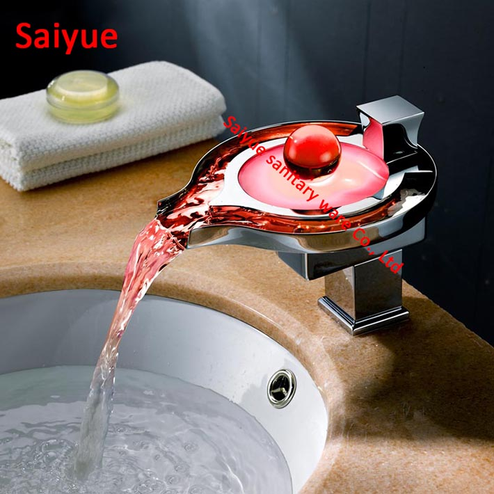 Round LED Light Waterfall Spout Bathroom Basin Faucet Deck Mounted 3 Colors Change Water Tap Single Handle Power Basin Mixer