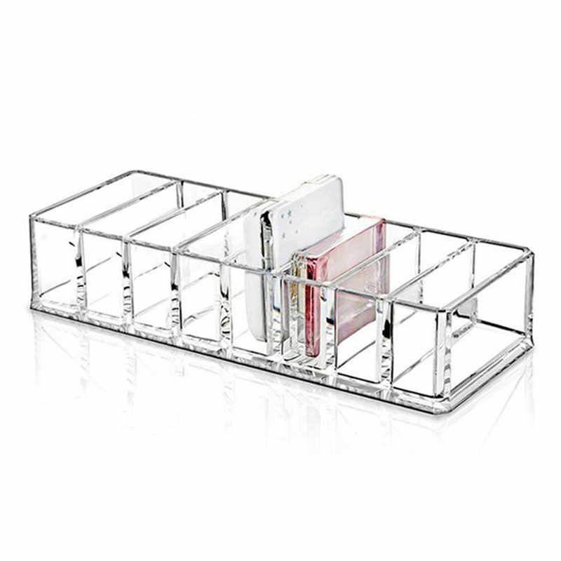 8 Grid Transparent Lipstick Storage Box Powder Container Makeup Tools Organizer Cosmetics Brushes Display Stand Holder #290768