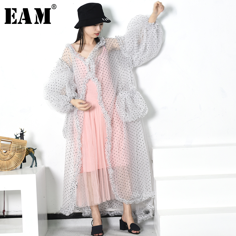 EAM 2019 New Spring Summer V collar Long Lantern Sleeve White Dot Printed Perspective Big