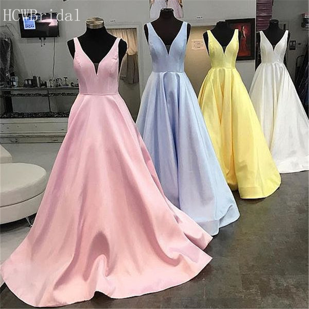 Mint Blue Satin Long   Prom     Dresses   Sweep Train A Line V Neck Formal Evening Gowns 2019 Custom Made Pink Wedding Party   Dress   Cheap