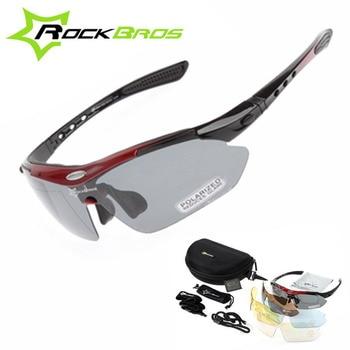 cc4a2cde26 Nuevo RockBros los polarizado 5 lentes ciclismo gafas de sol al aire libre  deportes de bicicletas MTB bicicleta de carretera gafas de sol TR90 gafas