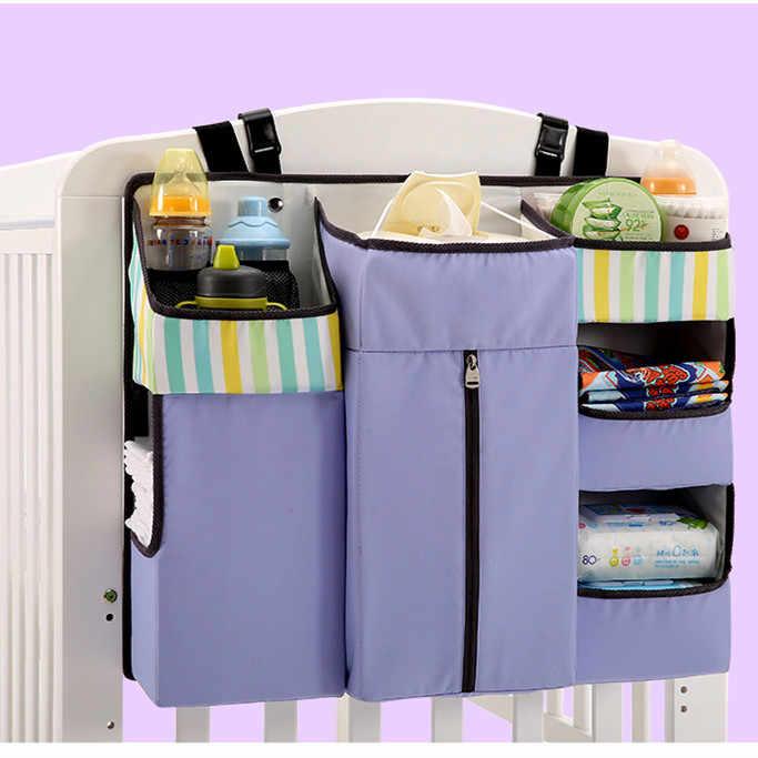 Beşik asılı alma çantası başucu bezi çok fonksiyonlu raf saklama çantası için bebek yatağı