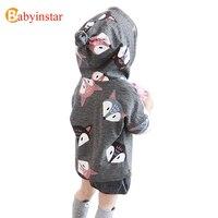Babyinstar Cute Fox Girls Jacket Autumn Long Sleeve Brand Children Clothing Hooded Casual Outwear Boys Jackets