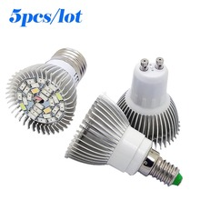 5pcs 28W LED Full Spectrum  E27/GU10/E14 Led Plant Lamp AC85-265V for Hydroponics System Flower Vegetable Plant