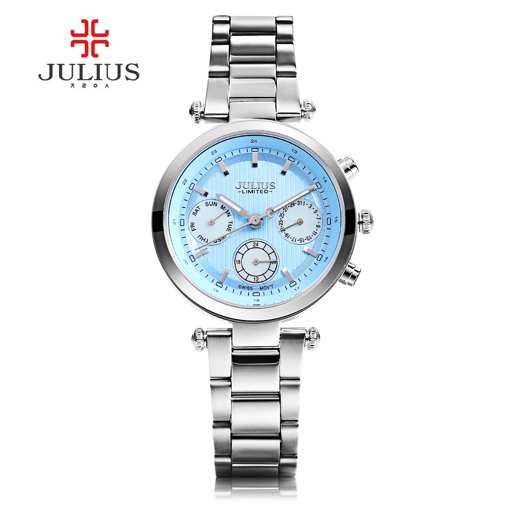 New Brand JULIUS Relogio Feminino Date Day Clock Stainless Steel Watch Ladies Fashion Casual Watch Quartz Wrist Women Watches julius quartz watch ladies bracelet watches relogio feminino erkek kol saati dress stainless steel alloy silver black blue pink