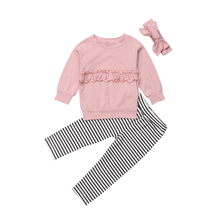 Pudcoco 2Pcs Autumn Casual Kid Baby Girl Clothes Set Long Sleeve T-shirt Top Striped Pants Legging Outfit new
