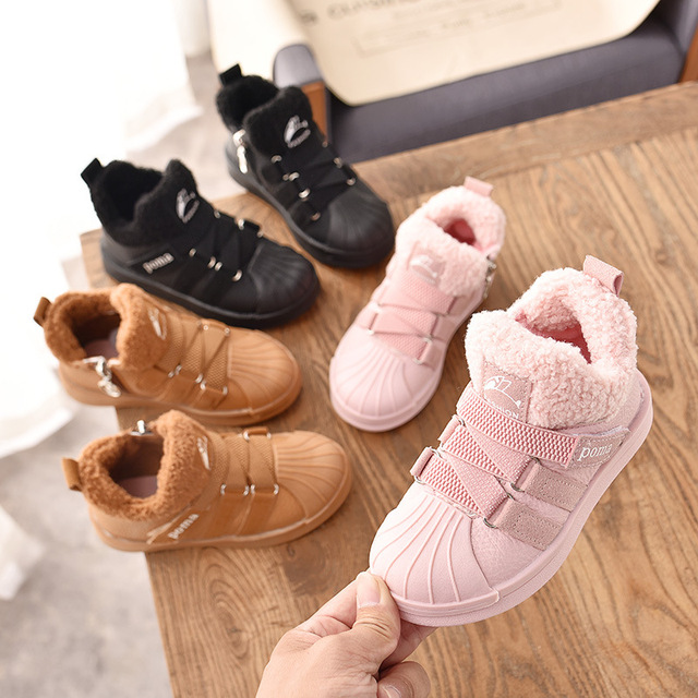 2018 Winter Baby Boy Girl Snow Boots Warm Plush Outdoor Kids Boots Children's Sneakers Non-Slip Comfortable Cotton Shoes