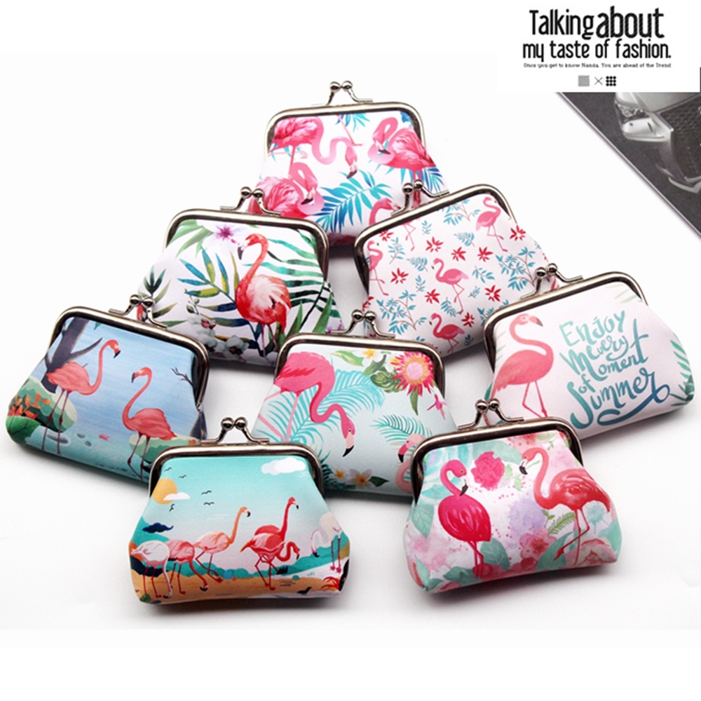 New Cute Girl's Coin Purse Women Cartoon PU Leather Flamingo's Coin Wallet Ladies Clutch Change Purse Female Coins Bag Pouch