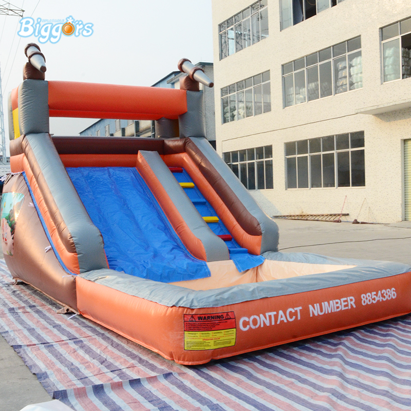 2018 PVC Material Dual Slides Inflatable Slide With Pool Funny Water Slide
