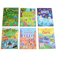 sticker books of children English story /A4 size Kids baby cartoon reuseble stickers for child birthday gifts, free shipping free shipping 2015 new hot sale pumpkin soup the original english picture books children s books in english