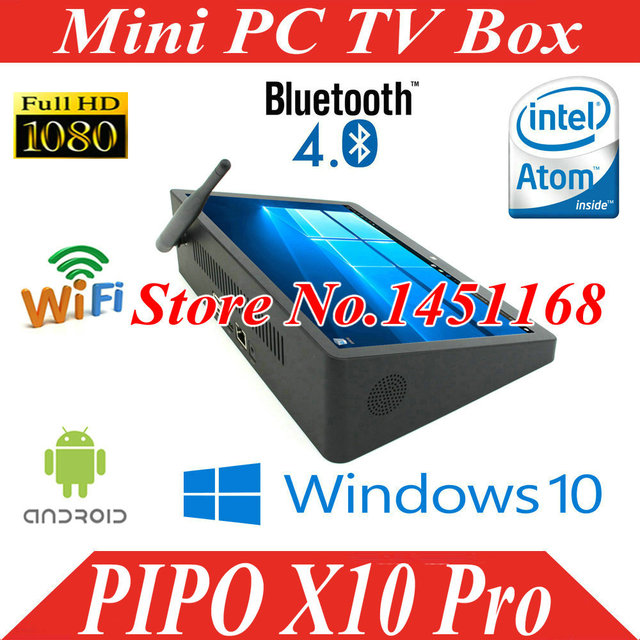 US $186 6 |10 8 inch PIPO X10 Pro Mini PC Windows 10 Android 5 1 TV Box  Z8300 Quad Core Mini Box 4G/64G HDMI Media Box BT-in Mini PC from Computer  &