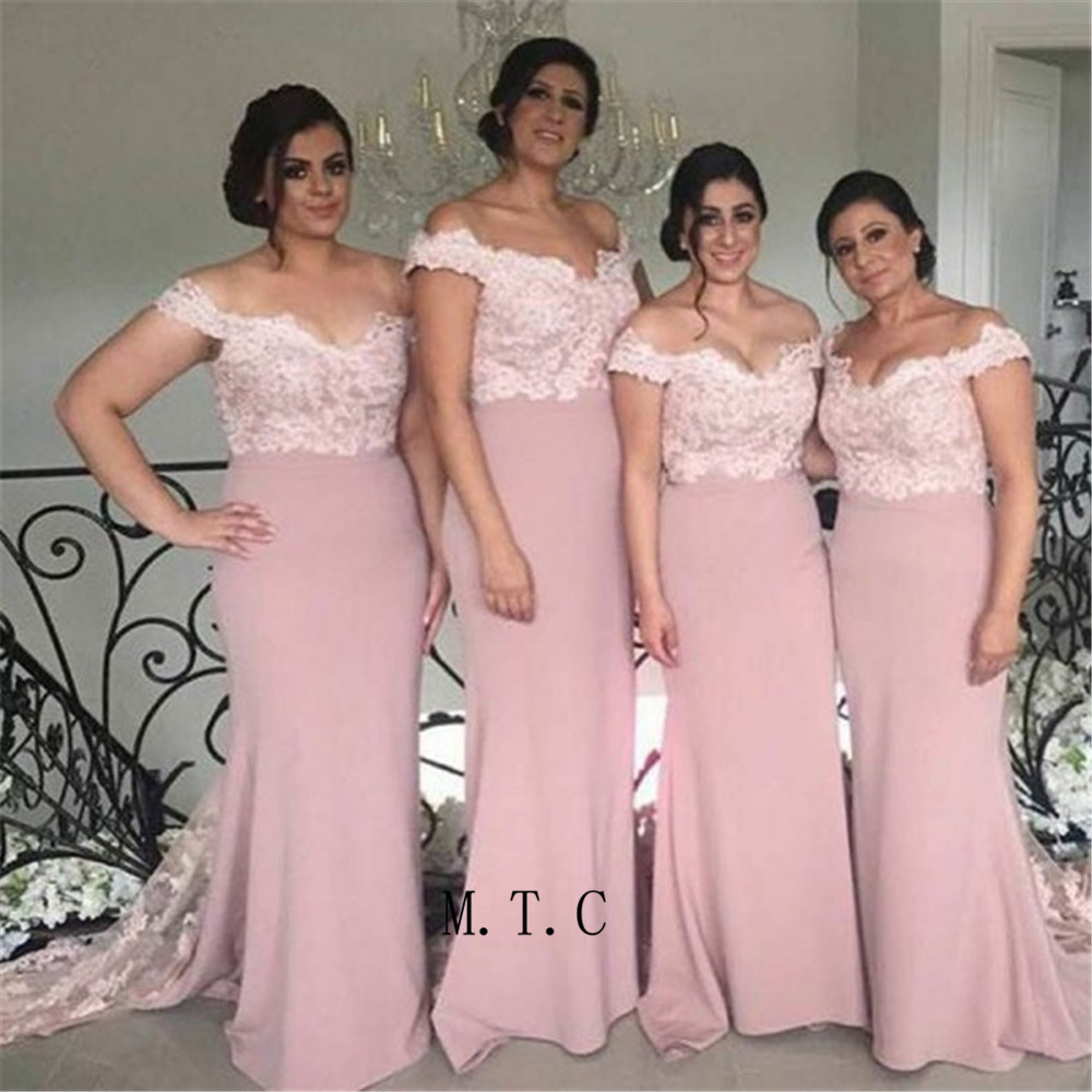 Blush Mermaid Elastic Satin Long   Bridesmaid     Dresses   Off The Shoulder Sweep Train Lace Appliques High Quality Maid Of Honor Gowns