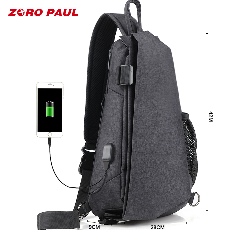 ZORO PAUL USB Design High Capacity Chest Pack Men Crossbody Bag suit for 9.7 inch IPad Water Repellent Men's Shoulder Bag цена 2017