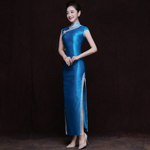 Elegant Girls blue cowboy Qipao Classic Chinese modern Cheongsam Spring Summer Autumn Stylish Dress Floral women Casual Vestidos