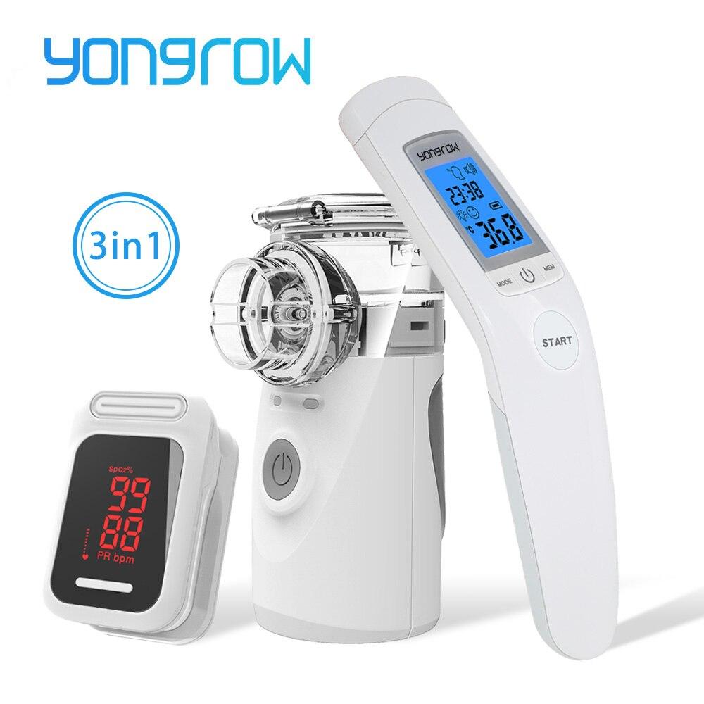 Yongrow LED Na Ponta Do Dedo Oxímetro de pulso & Handheld Nebulizador Inalador para A Asma & Presente de Cuidados de Saúde Da Família Do Bebê Termômetro Infravermelho