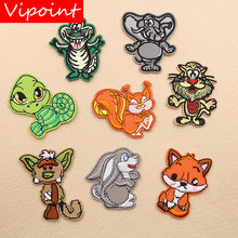 VIPOINT embroidery crocodile rabbit patches turtle fox lion badges applique for clothing XW-44