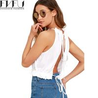 New Fashion 2017 Summer Tops Women Girls Cute Solid Crop Top Wommen T Shirts Backless Casual