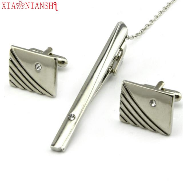 Cuff Links High Silver Necktie Clip Tie Pin White Crystal Bars Cufflinks