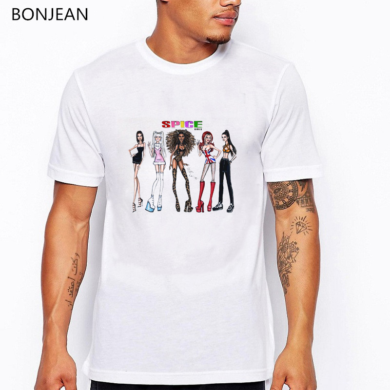 summer 2019 spice girls t shirt men harajuku shirt hip hop tee shirt homme graphic white t shirt camisetas hombre streetwear in T Shirts from Men 39 s Clothing
