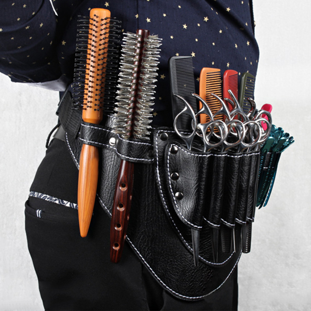 Pouch font b Case b font with Waist Shoulder Belt Holster Scissors Clips Combs PU Leather