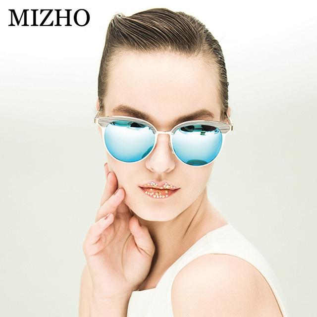 Vidrio mizho superstar uva polarizada óculos de sol espelhados mulheres de metal cat eye vintage polaroid caso espelho de óculos de sol originais 2017